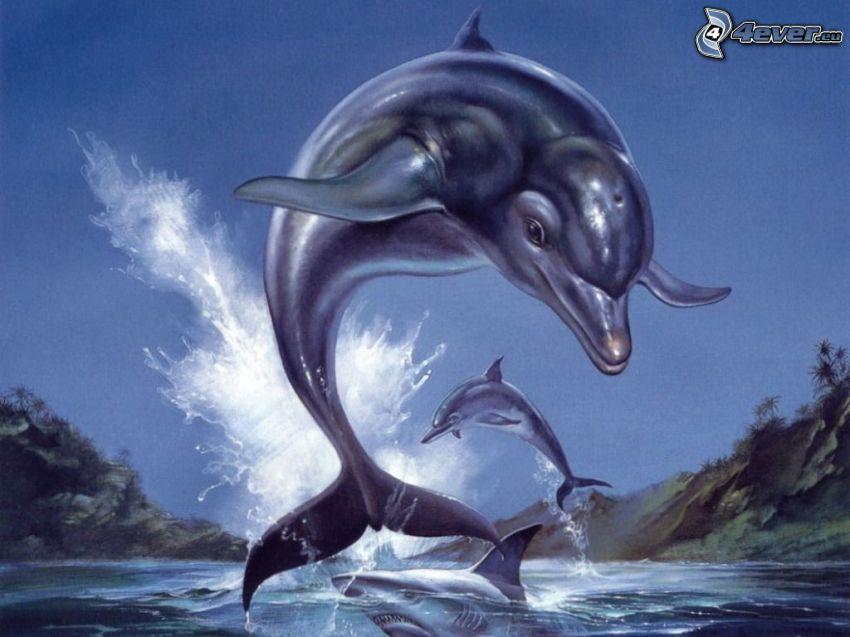delfini disegnati, delfini che saltano