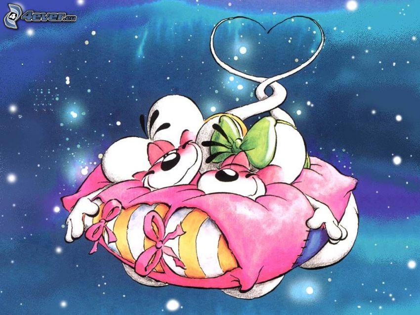 Diddl e Diddlina, cuscino, cuore, stelle