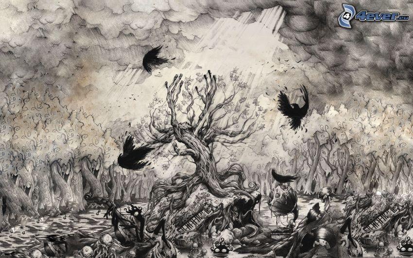 albero, tempesta, foresta, corvi