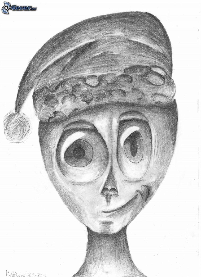 alieno, cappello di babbo natale, occhi grandi