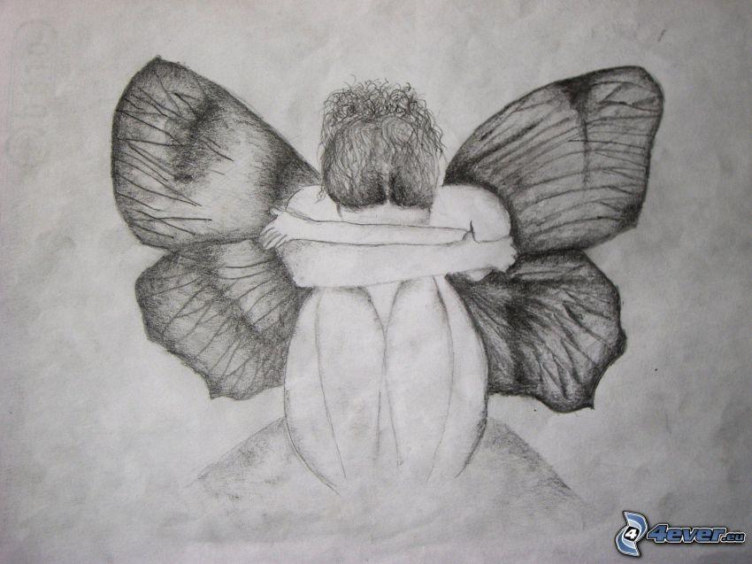 angelo disegnato, farfalla