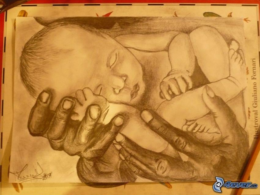 bambino, mani disegnate
