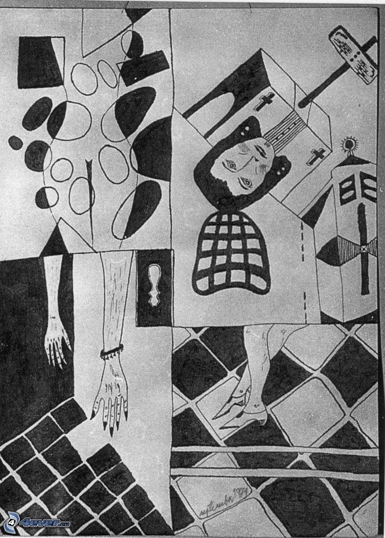collage, silluetta di donna, uomo, croci, mani, gambe