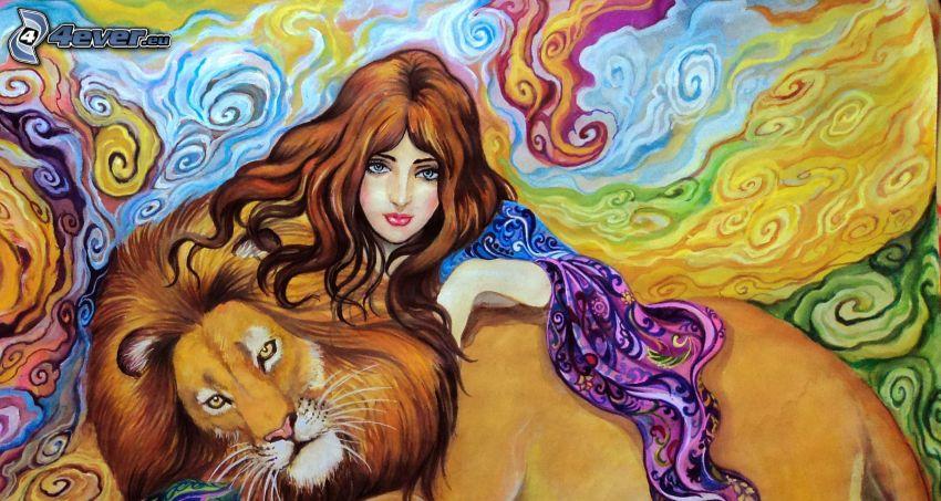 donna animata, leone disegnato, pittura