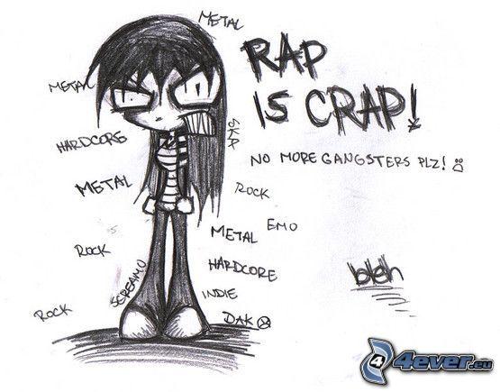 emo, rap, metal, rock