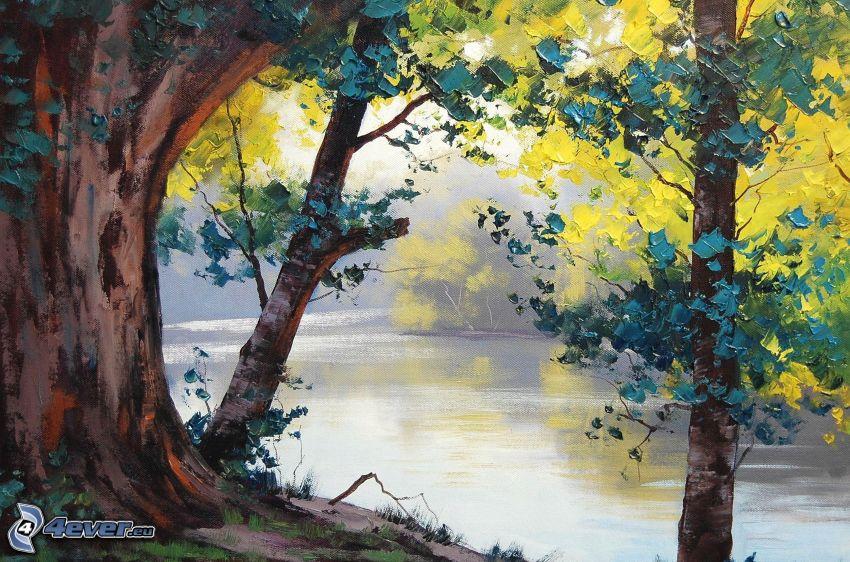 lago, alberi autunnali