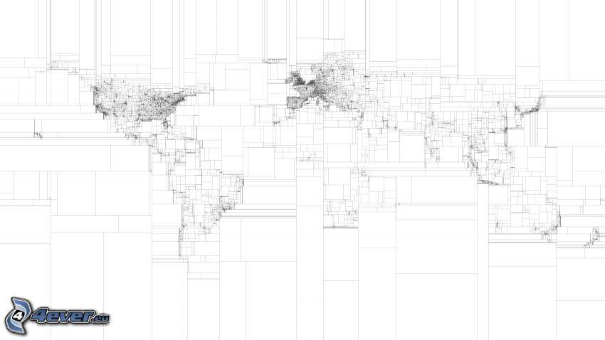 mappa del mondo, quadrati