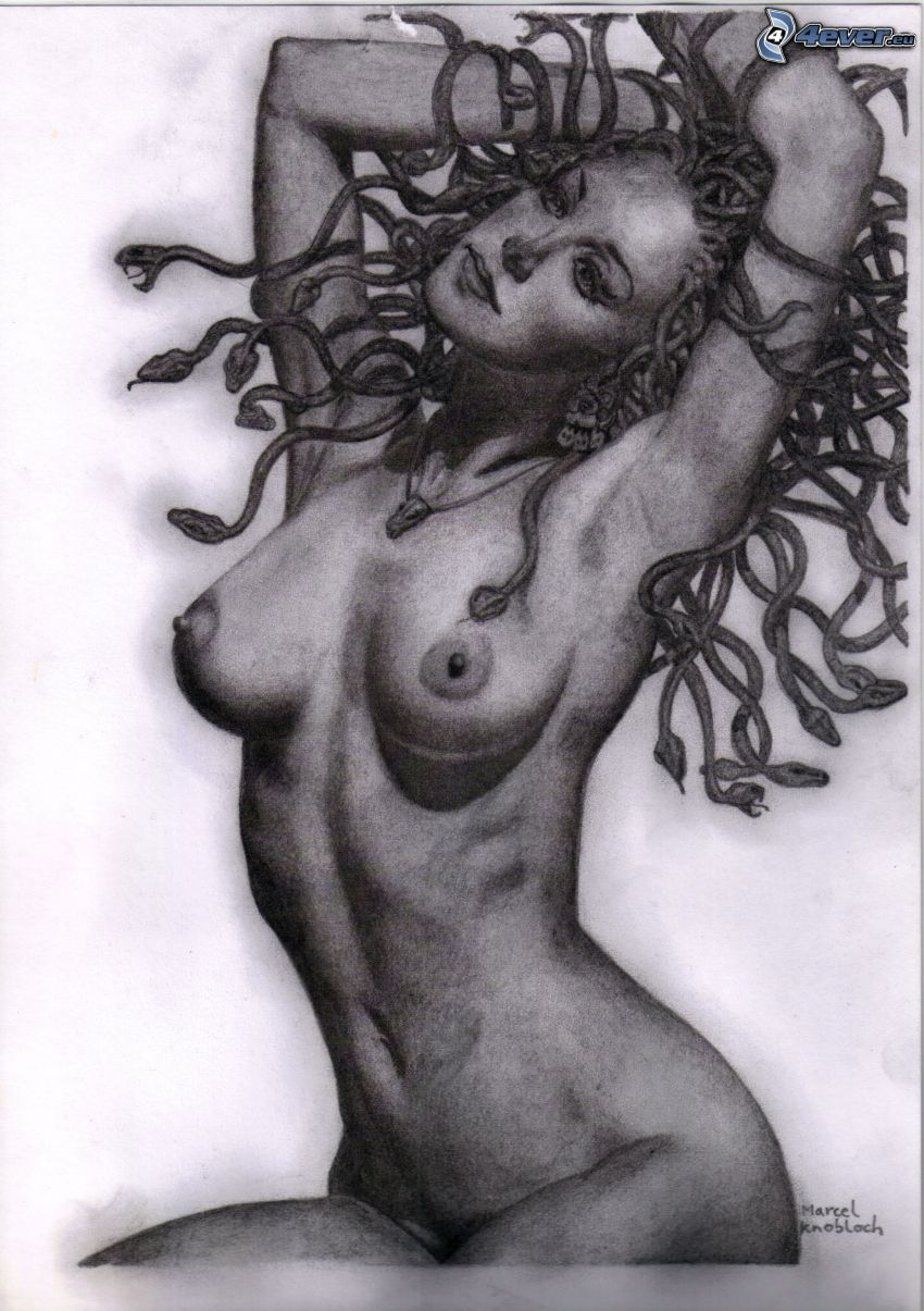 medusa, capelli, serpente