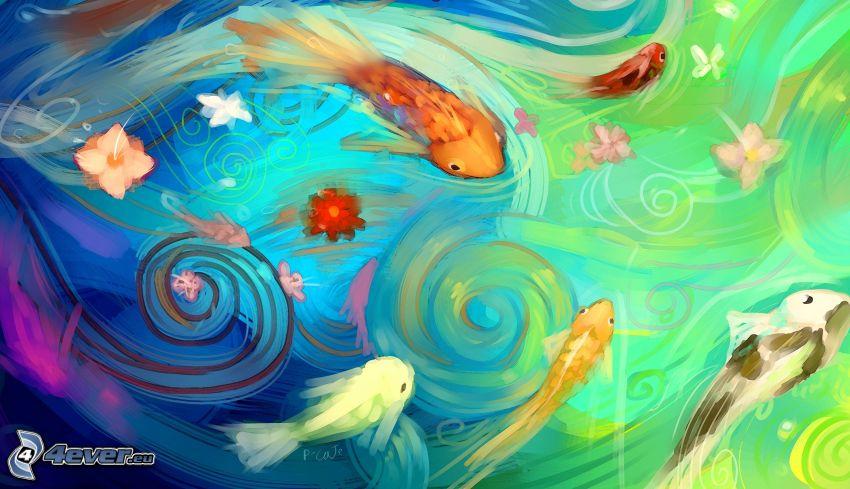 pesci, pittura