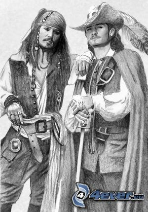 pirata, Jack Sparrow, Will Turner, Johnny Depp, Orlando Bloom