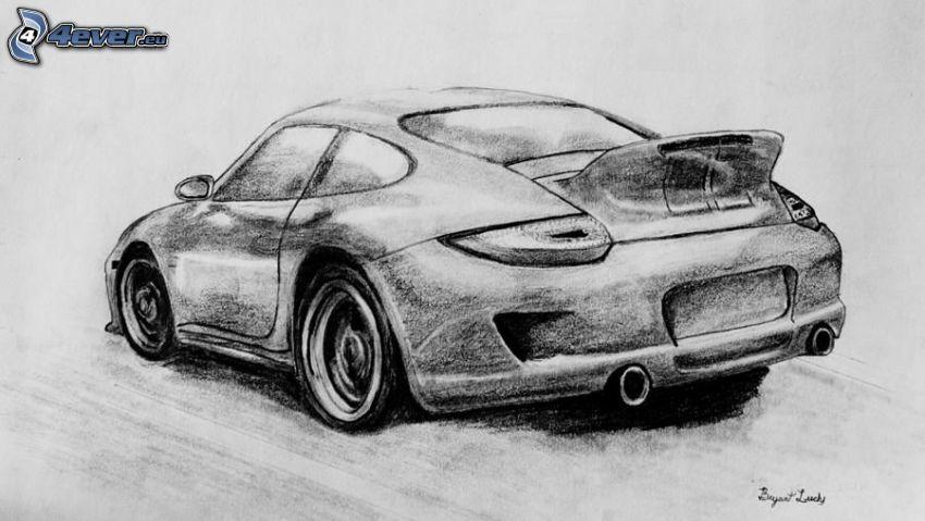 Porsche, auto disegnata