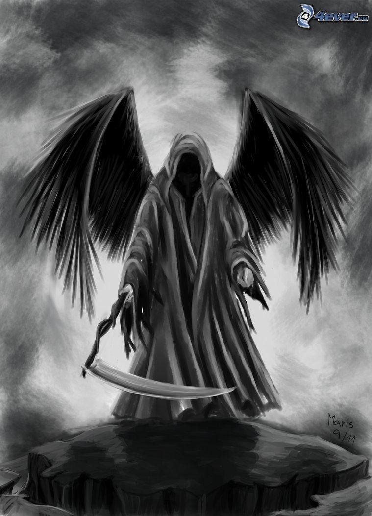 scuro uomo con la falce, ali nere