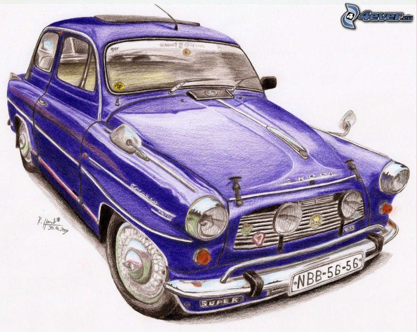 Škoda Octavia, veicolo d'epoca, auto disegnata