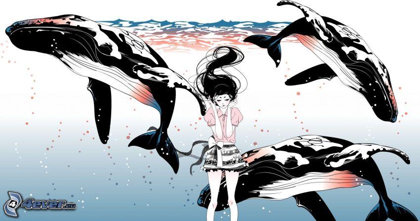 disegno di una ragazza, balene