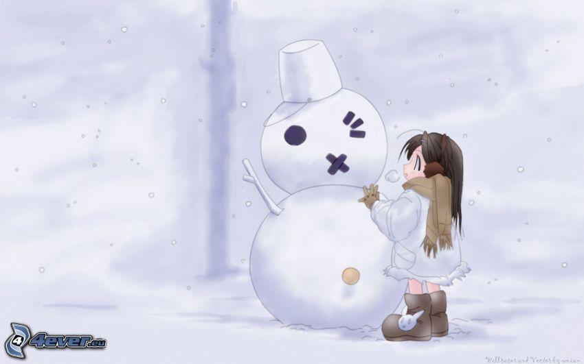 disegno di una ragazza, pupazzo di neve