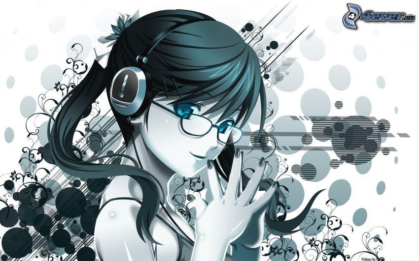 disegno di una ragazza, ragazza con gli occhiali, cerchi