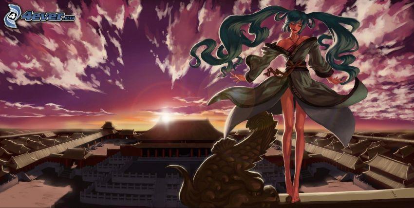 donna animata, capelli lunghi, tramonto viola