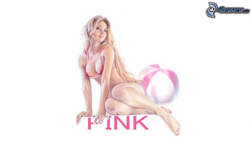donna animata, donna in bikini, bionda, costume da bagno rosa