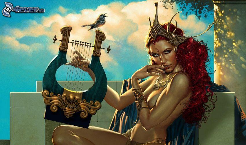 donna animata, donna seminuda, capelli rossi, lira, uccello