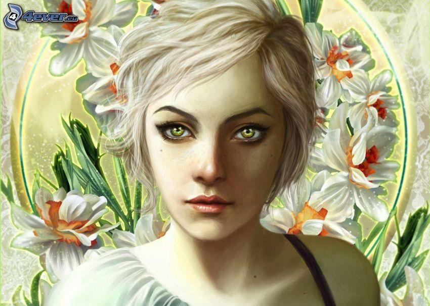 donna animata, fiori bianchi