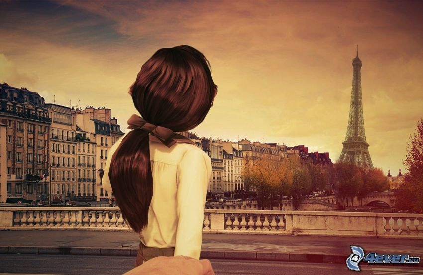 donna animata, Parigi, Torre Eiffel