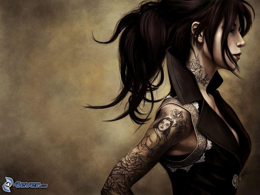 donna animata, tatuaggio