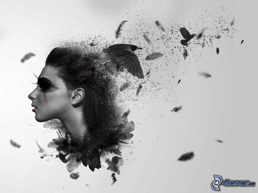 donna animata, uccelli, piume, bianco e nero