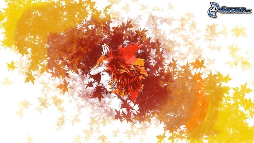 donna animata, volpe disegnata, foglie di autunno