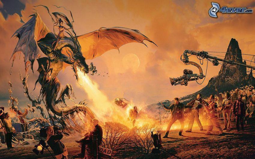 drago disegnato, fiamma, gente