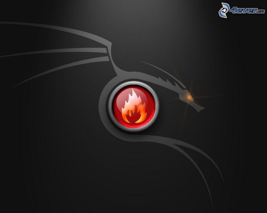 drago disegnato, fuoco