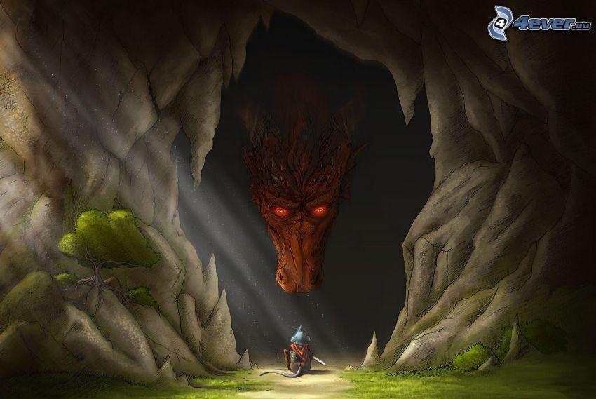 drago disegnato, topo, grotta