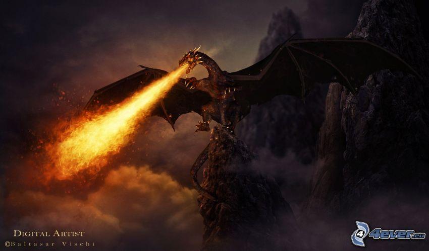 dragone nero, fuoco