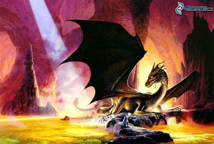 dragone nero, inferno, ali nere