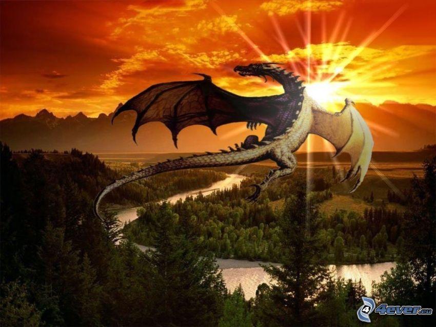 dragone volante, arte, tramonto, natura, il fiume, montagne