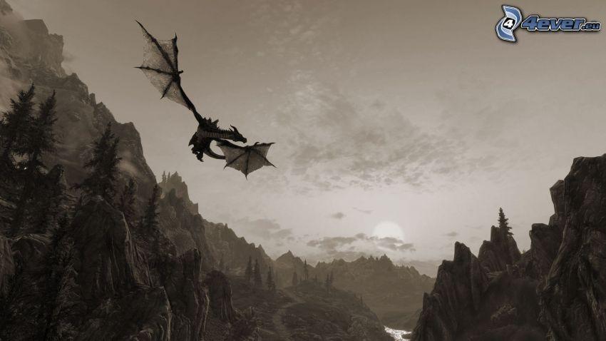 dragone volante, montagna, rocce