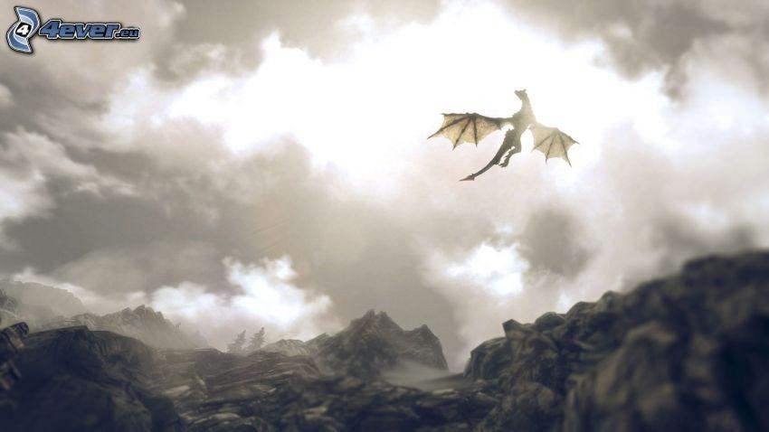 dragone volante, nuvole, montagna