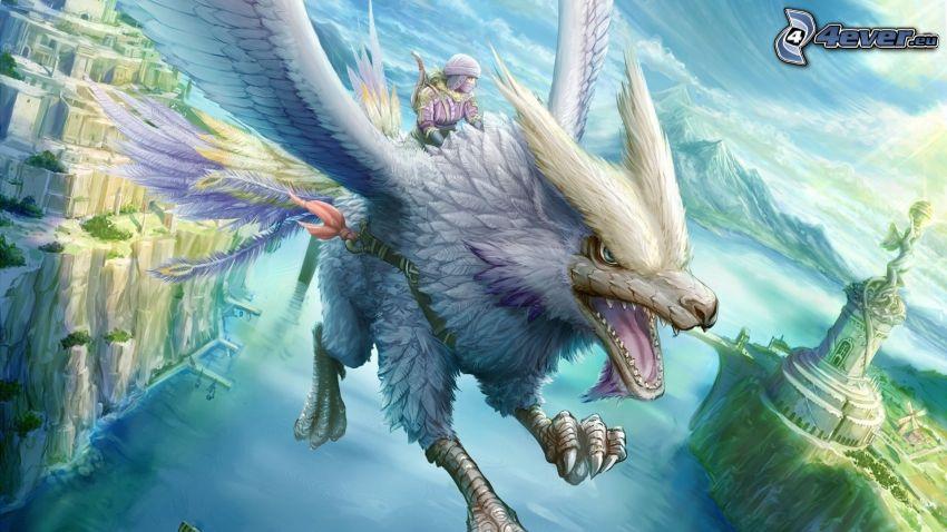 dragone volante, paesaggio dipinto