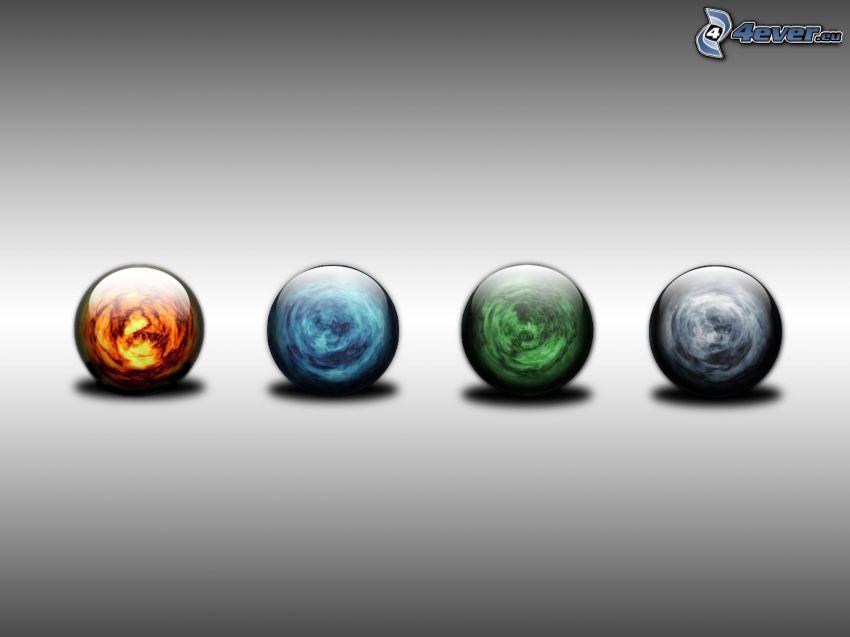 elementi, palline