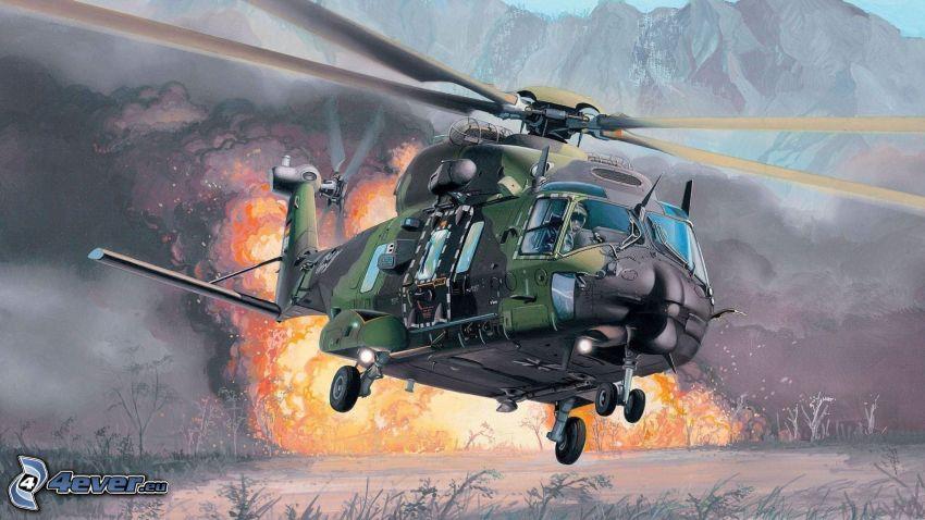 Elicottero militare, esplosione
