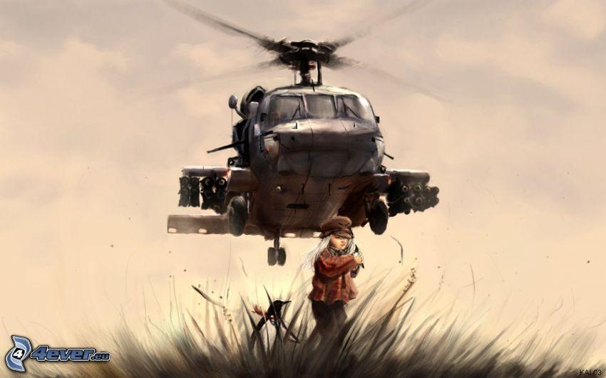 Elicottero militare, ragazza in campo