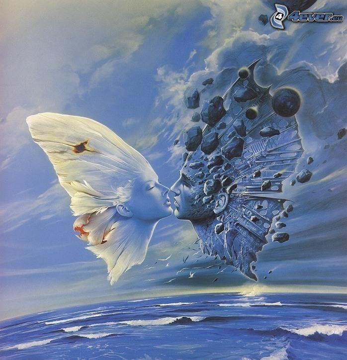 faccia, coppia animata, farfalle, mare