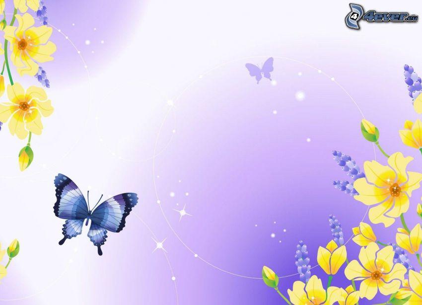 farfalla blu, fiori gialli
