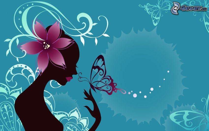 figura, fiori, farfalle