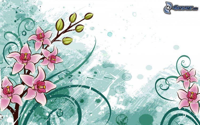 fiori disegnati, fiori rossi