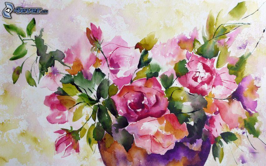 fiori in un vaso, fiori disegnati