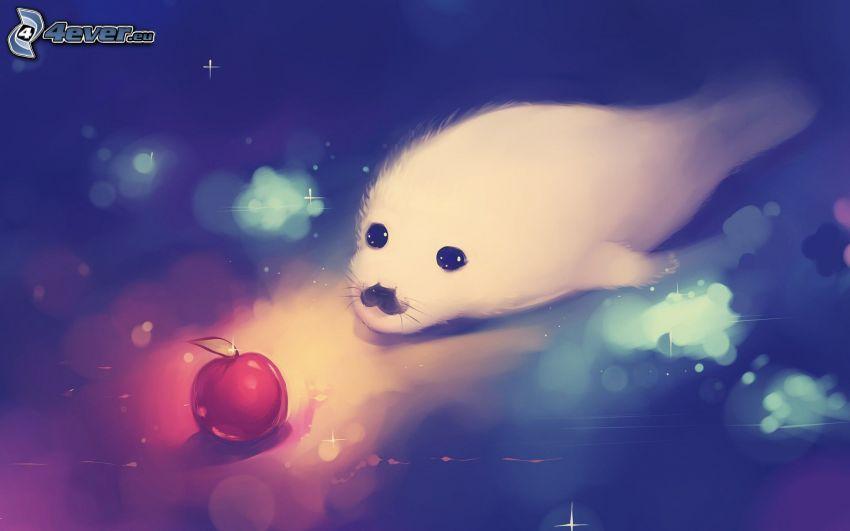 foca, mela, cerchi