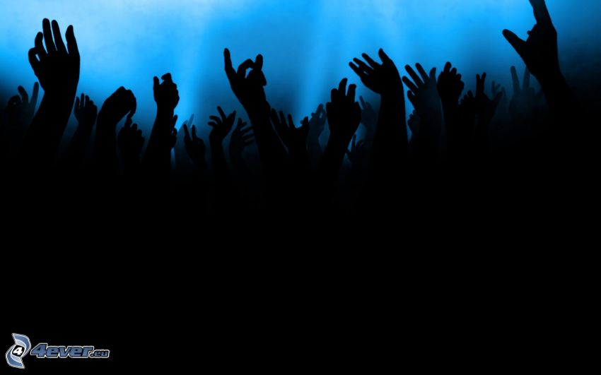 folla, fans, mani