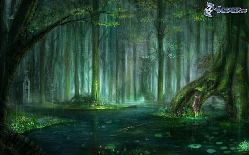 foresta pluviale, acqua, alberi, bambino, pioggia