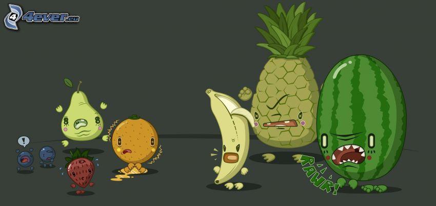 frutta, cocomero, ananas, banana, arancia, pera, fragola