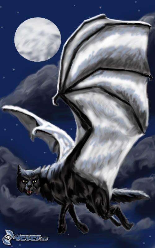 gatto disegnato, ali di pipistrello